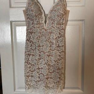 Jovani nude lace short dress size 2